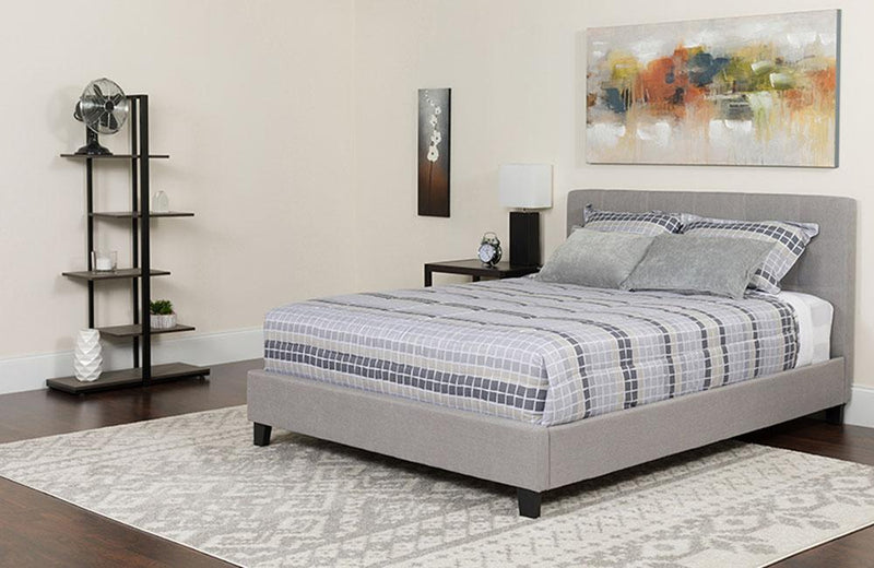 Flash Furniture Chelsea King Size Upholstered Platform Bed in Light Gray Fabric with Pocket Spring Mattress | Kipe it