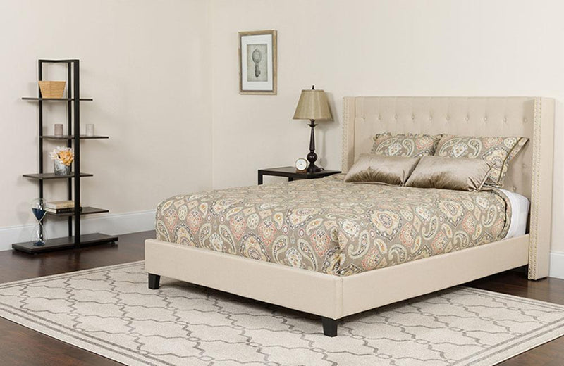 Flash Furniture Riverdale Queen Size Tufted Upholstered Platform Bed in Beige Fabric with Pocket Spring Mattress | Kipe it