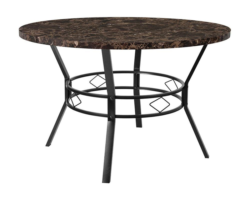 "Tremont 47"" Round Dining Table in Espresso Marble-Like Finish"