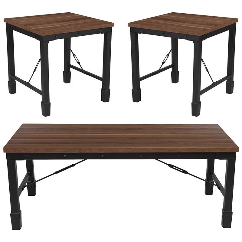 Flash Furniture Brentwood Collection 3 Piece Coffee and End Table Set in Rustic Walnut Finish and Black Metal Frames | Kipe it