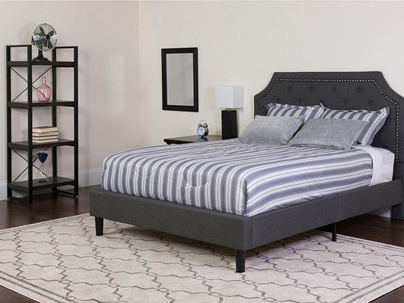 Flash Furniture Brighton Tufted Upholstered Platform Bed in Dark Gray Fabric - Full | Kipe it