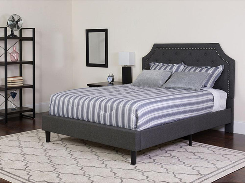 Flash Furniture Tufted Upholstered Platform Bed in Dark Gray Fabric with Pocket Spring Mattress - Queen | Kipe it