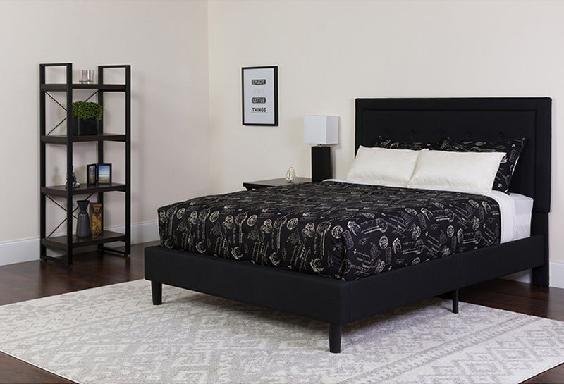 Flash Furniture Tufted Upholstered Platform Bed in Black Fabric with Pocket Spring Mattress - Full | Kipe it