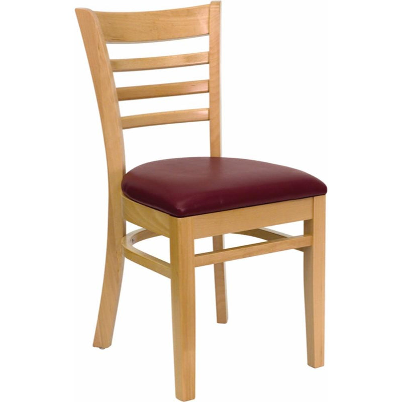 Offex HERCULES Series Natural Wood Finished Ladder Back Wooden Restaurant Chair - Burgundy Vinyl Seat