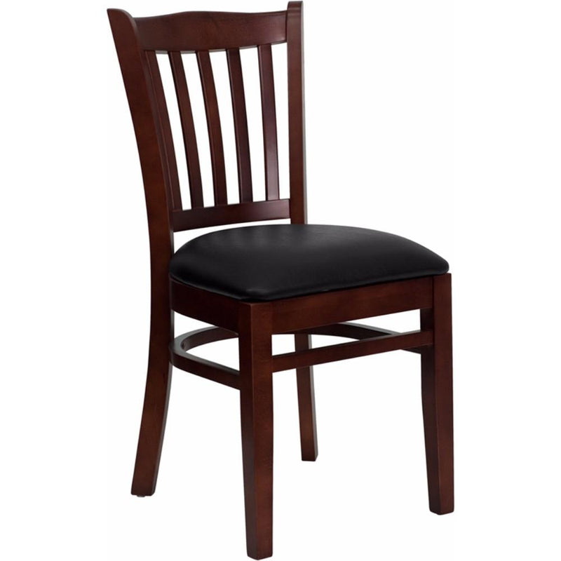 Offex HERCULES Series Mahogany Finished Vertical Slat Back Wooden Restaurant Chair - Black Vinyl Seat