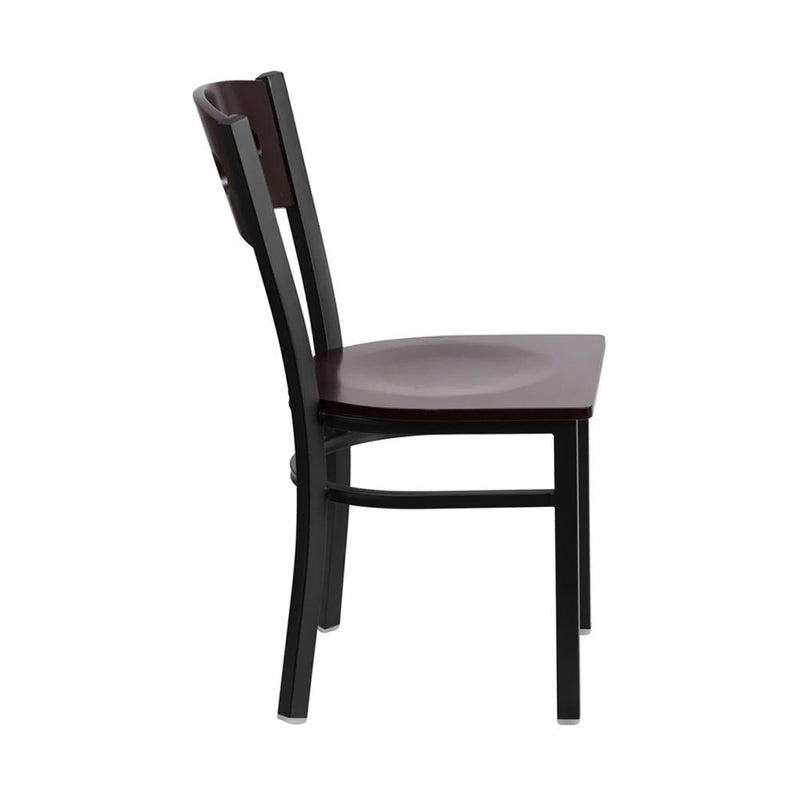Offex HERCULES Series Black Decorative 3 Circle Back Metal Restaurant Chair - Walnut Wood Back And Seat