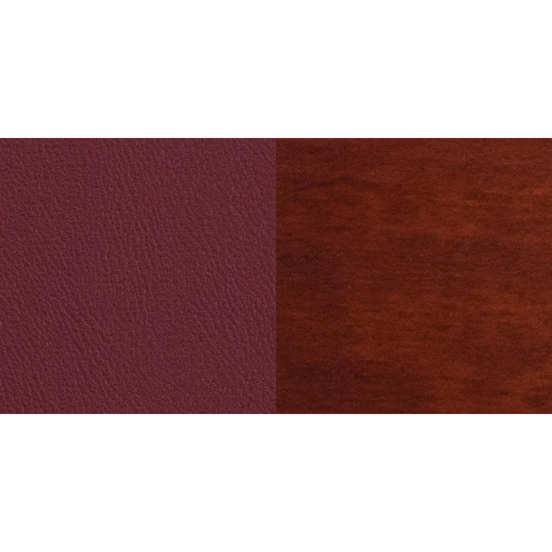 Offex Darby Series Slat Back Mahogany Wooden Restaurant Chair - Burgundy Vinyl Seat