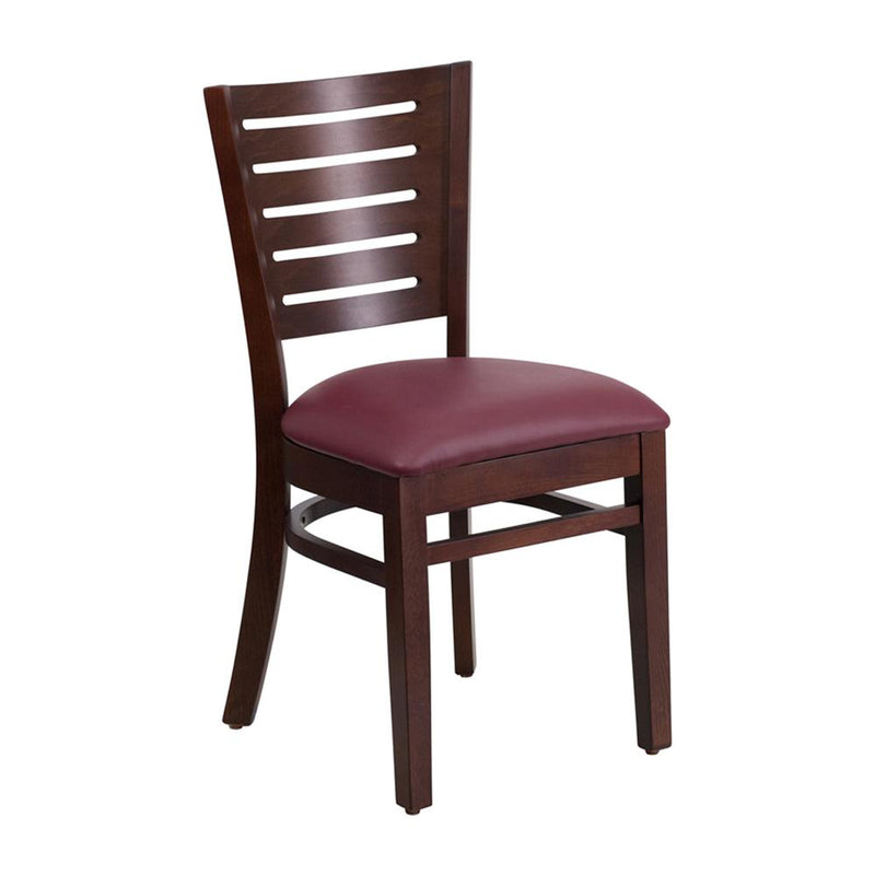 Offex Darby Series Slat Back Walnut Wooden Restaurant Chair - Burgundy Vinyl Seat