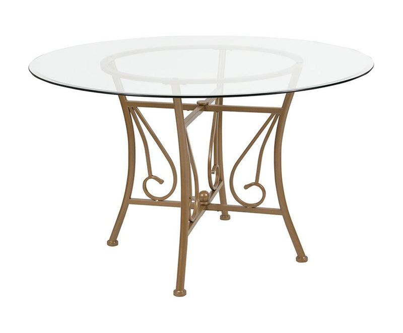 "Flash Furniture Princeton 48"" Round Glass Dining Table with Matte Gold Metal Frame"