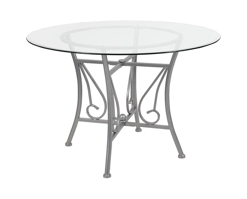 "Flash Furniture Princeton 45"" Round Glass Dining Table with Silver Metal Frame"