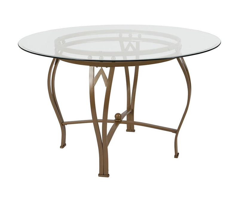 "Flash Furniture Syracuse 48"" Round Glass Dining Table with Matte Gold Metal Frame"