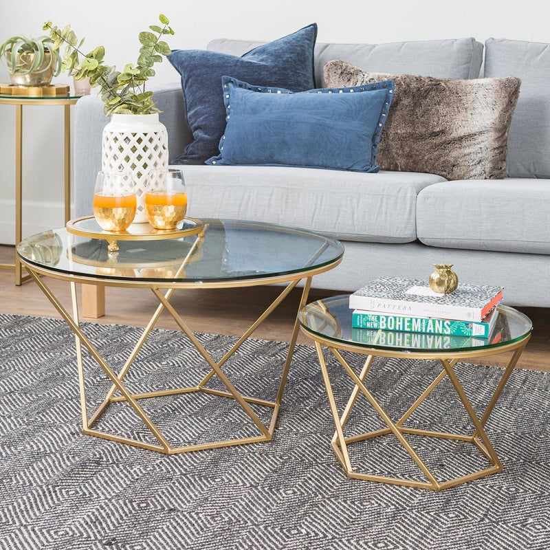 WE Furniture Accent Geometric Glass Nesting Coffee Tables - Gold | Kipe it