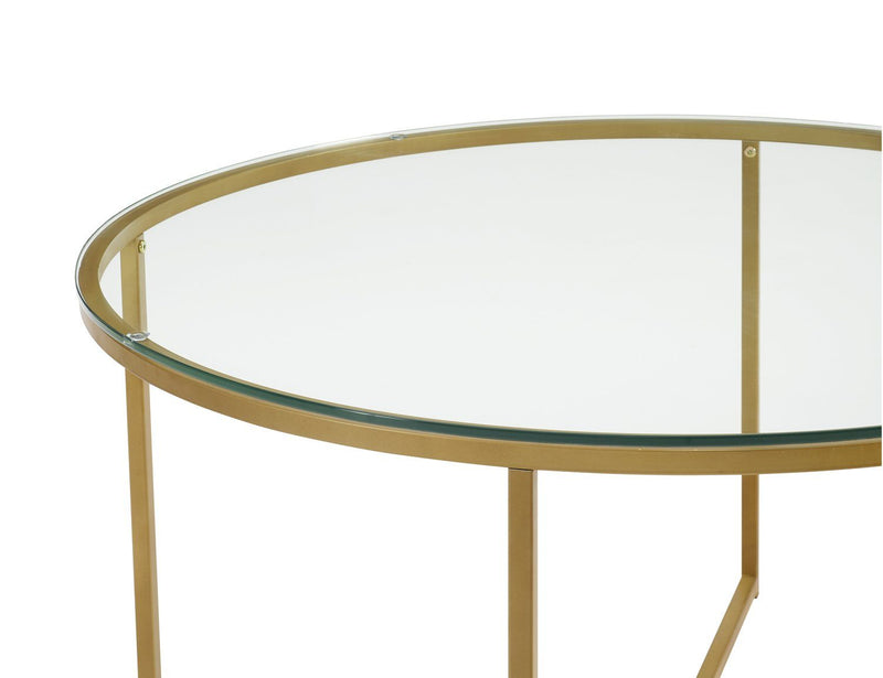 "WE Furniture 36"" Glass Top Coffee Table with X-Base - Glass/Gold 