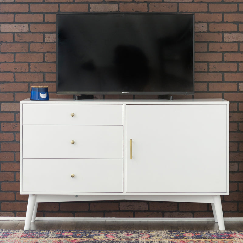 "WE Furniture Home 52"" Mid-Century Long Lasting TV Console - White 