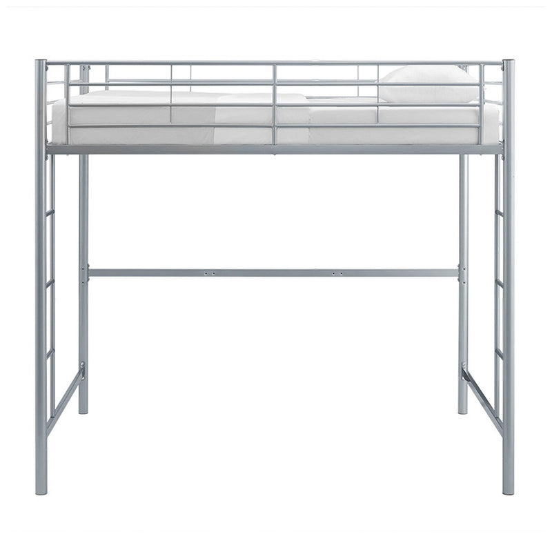 WE Furniture Kids Premium Sturdy Steel Frame Full Size Loft Bed - Silver