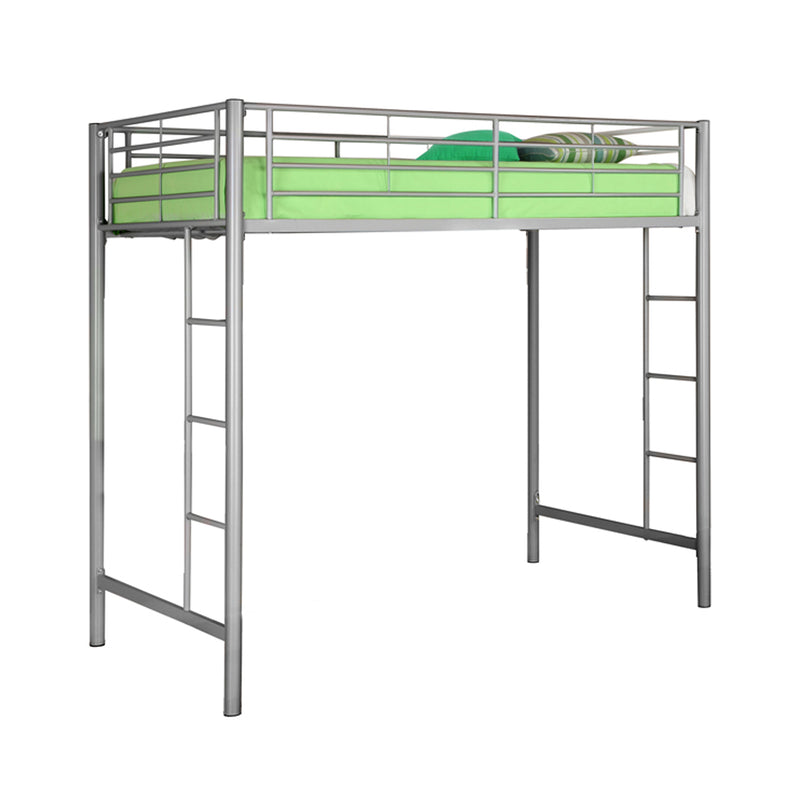 WE Furniture Kids Premium Sturdy Steel Frame Twin Loft Bed - Silver | Kipe it