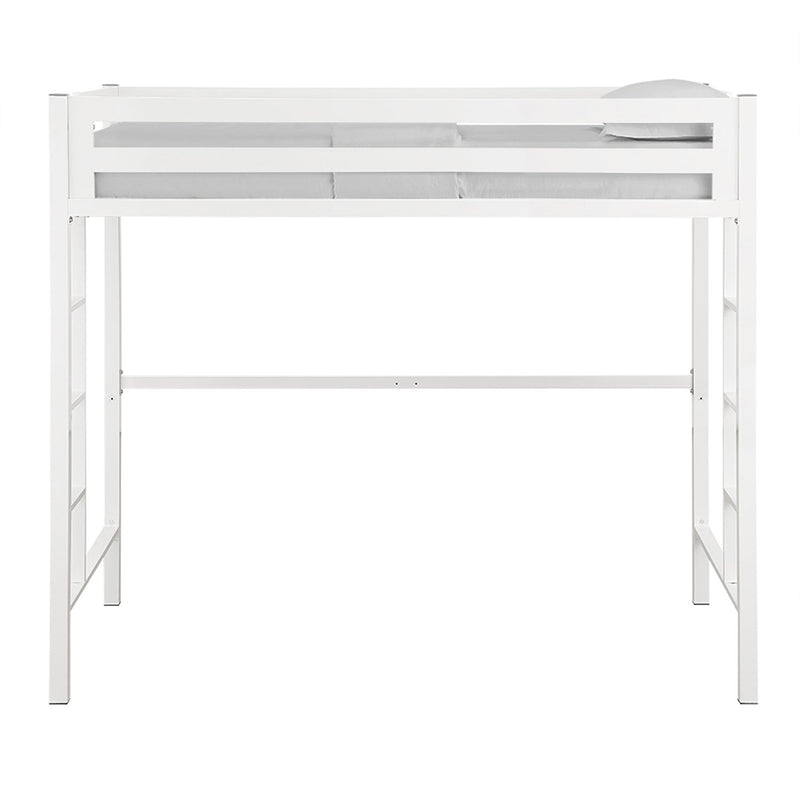 WE Furniture Kids Premium Deluxe Twin Metal Loft Bed - White