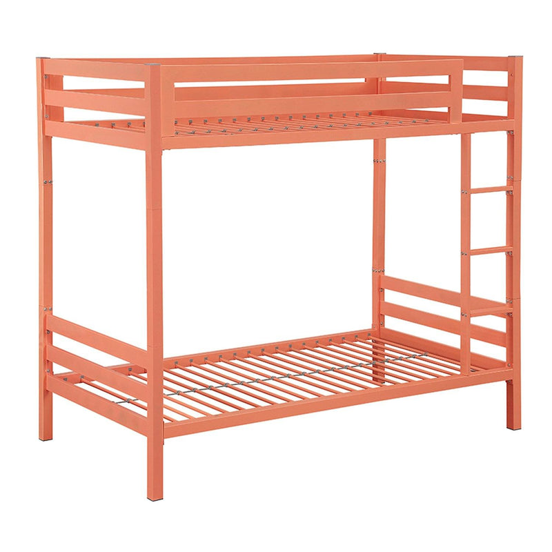 WE Furniture Kids Premium Deluxe Twin over Twin Metal Bunk Bed - Coral