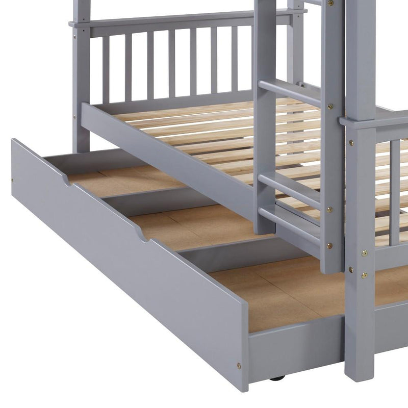 WE Furniture Kids Durable Solid Wood Twin Trundle - Grey
