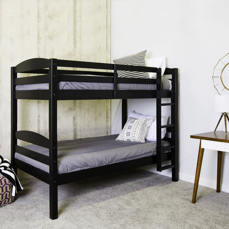 WE Furniture Kids Solid Wood Twin over Twin Bunk Bed - Black