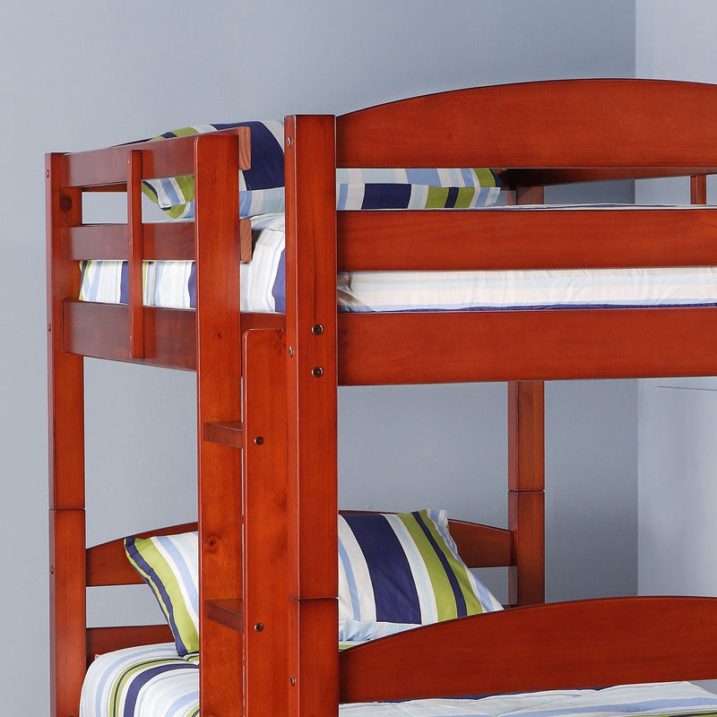 WE Furniture Kids Solid Wood Twin over Twin Bunk Bed - Cherry