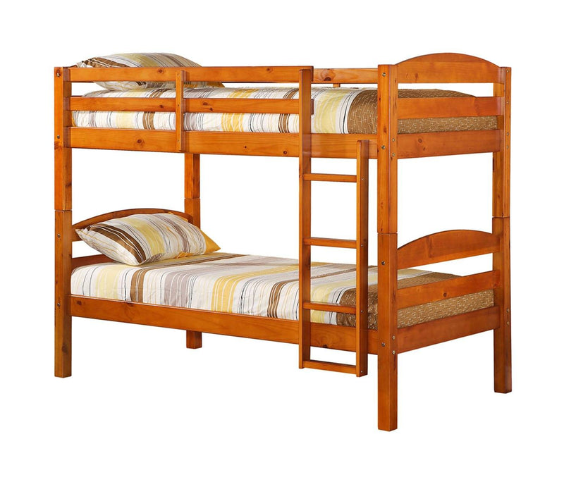 WE Furniture Kids Solid Wood Twin over Twin Bunk Bed - Honey