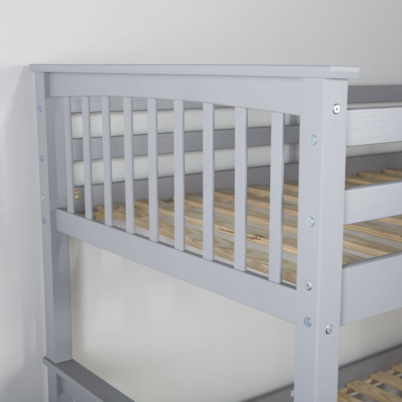 WE Furniture Kids Twin over Twin Solid Wood Mission Design Bunk Bed - Grey