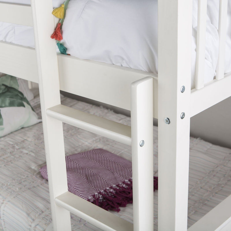 WE Furniture Kids Twin over Twin Solid Wood Mission Design Bunk Bed - White