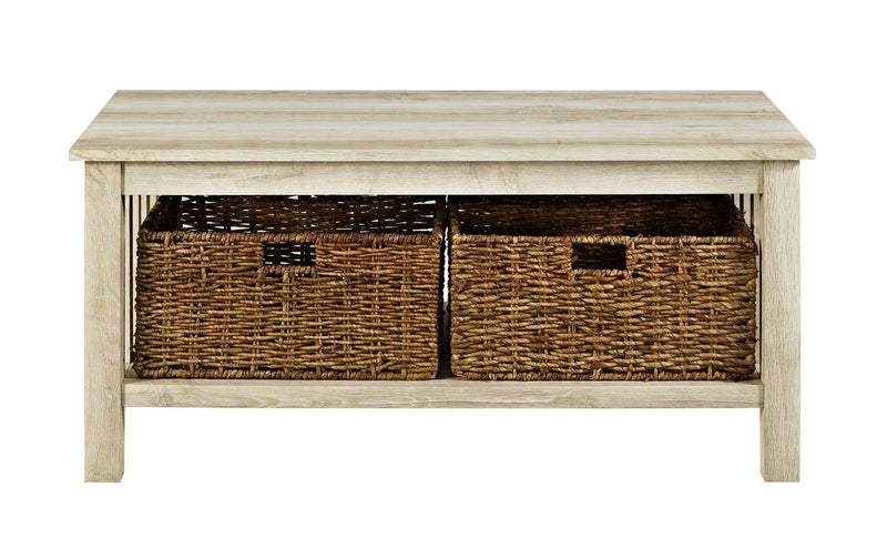 "WE Furniture 40"" Wood Storage Coffee Table with Totes - White Oak 