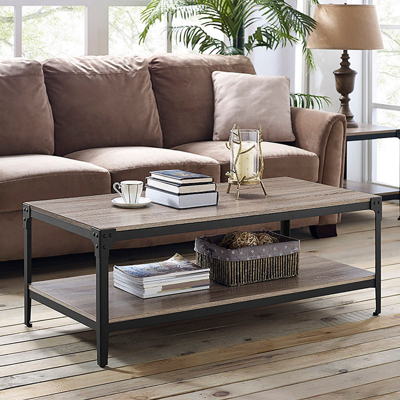 WE Furniture Angle Iron Rustic Wood Coffee Table - Driftwood | Kipe it