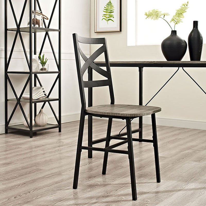 Metal X-Back Wood Dining Chair Set of 2 - Driftwood