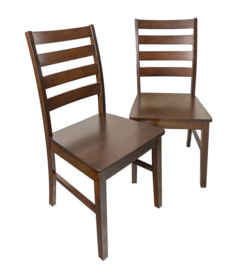 Wood Ladder Back Dining Chair Set of 2 - Walnut