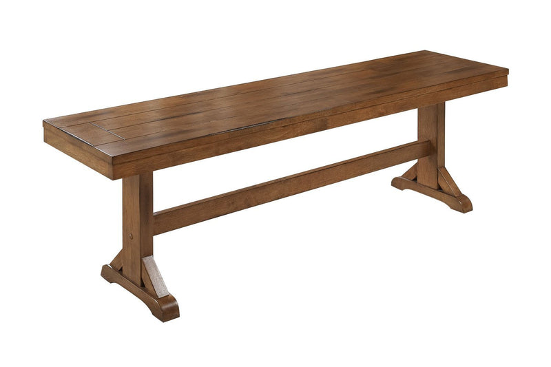 "60"" Antique Brown Wood Dining Kitchen Bench"