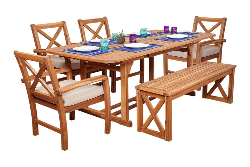 WE Furniture Patio Outdoor X-Back Acacia Dining Set with Cushion - 6 Pieces