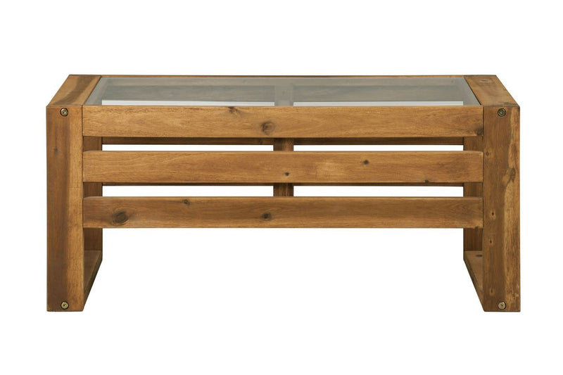 WE Furniture Patio Outdoor Open Side Wood Coffee Table - Brown | Kipe it