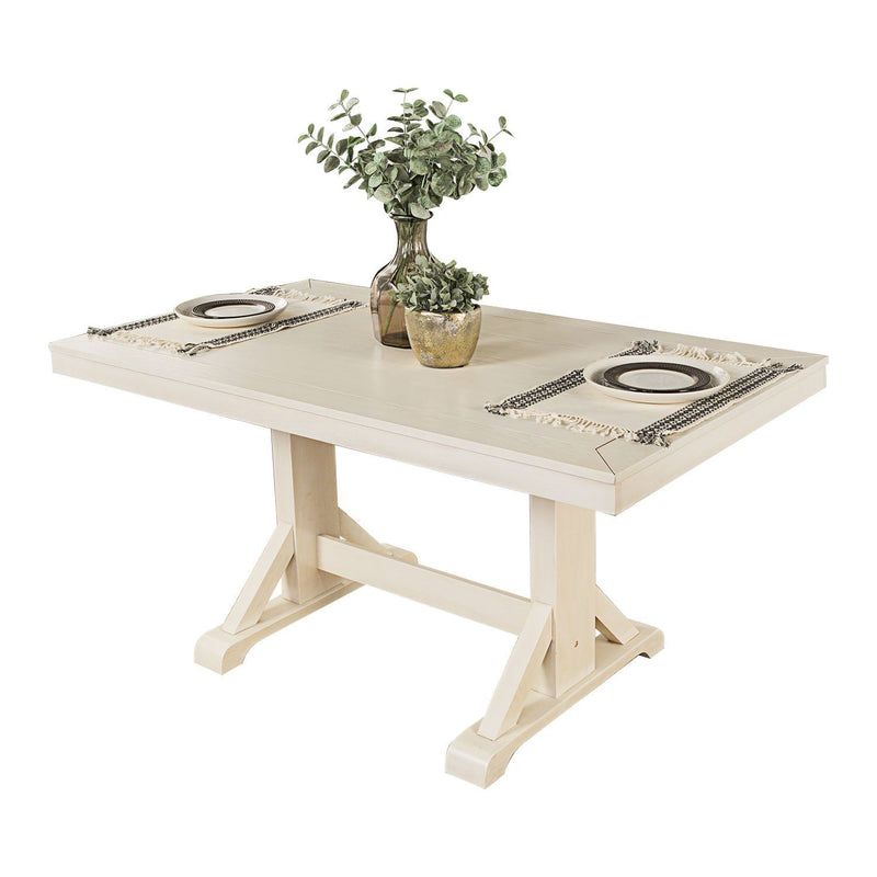 "WE Furniture Millwright 60"" Traditional Design Wood Dining Table - Antique White"