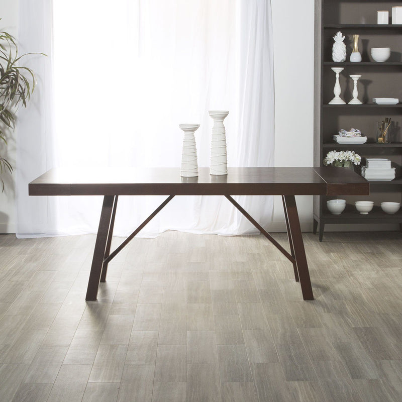 "WE Furniture 60"" Solid Wood Trestle Style Design Dining Table - Espresso"