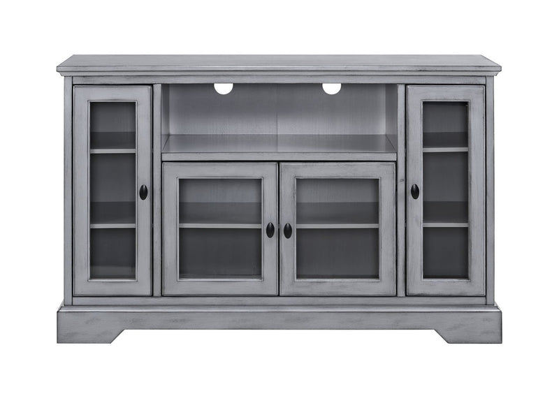 "WE Furniture 52"" Wood Highboy Storage Console TV Media Stand - Antique Grey 