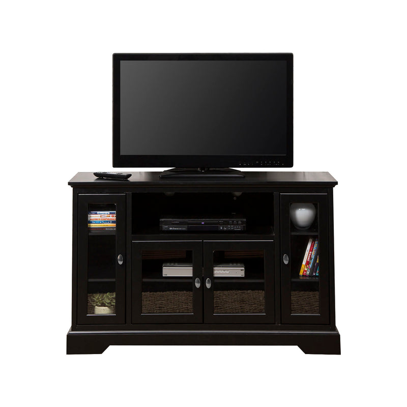 "WE Furniture 52"" Wood Highboy Storage Console TV Media Stand - Black 
