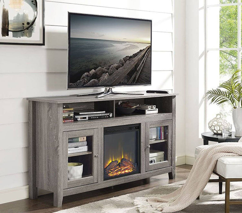 "WE Furniture 58"" Wood Highboy Fireplace Console Media TV Stand - Driftwood 