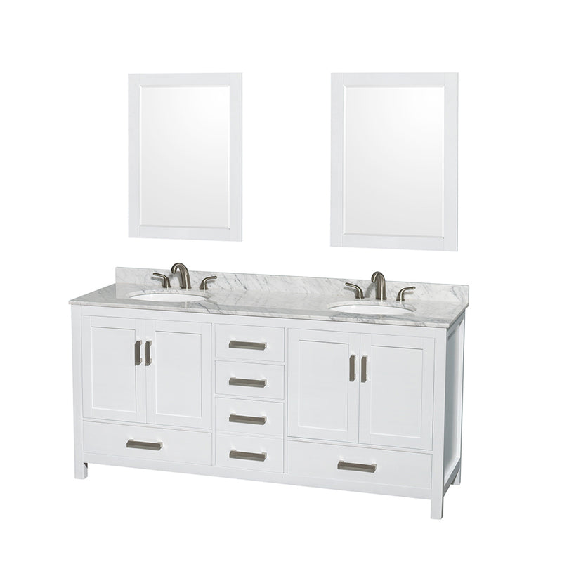 "72"""" Double Bathroom Vanity in White, White Carrera Marble Countertop, Undermount Oval Sinks, and 24"""" Mirrors 