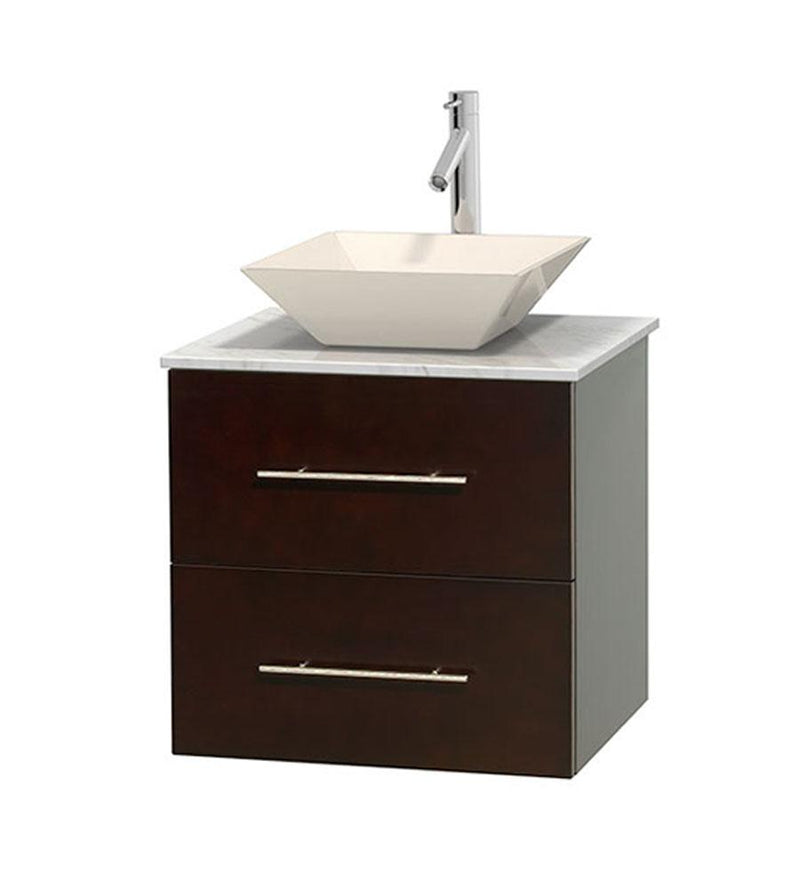 "WYNDHAM COLLECTION 24"" Single Bathroom Vanity in Espresso, White Carrera Marble Countertop, Pyra Bone Porcelain Sink, and No Mirror 
