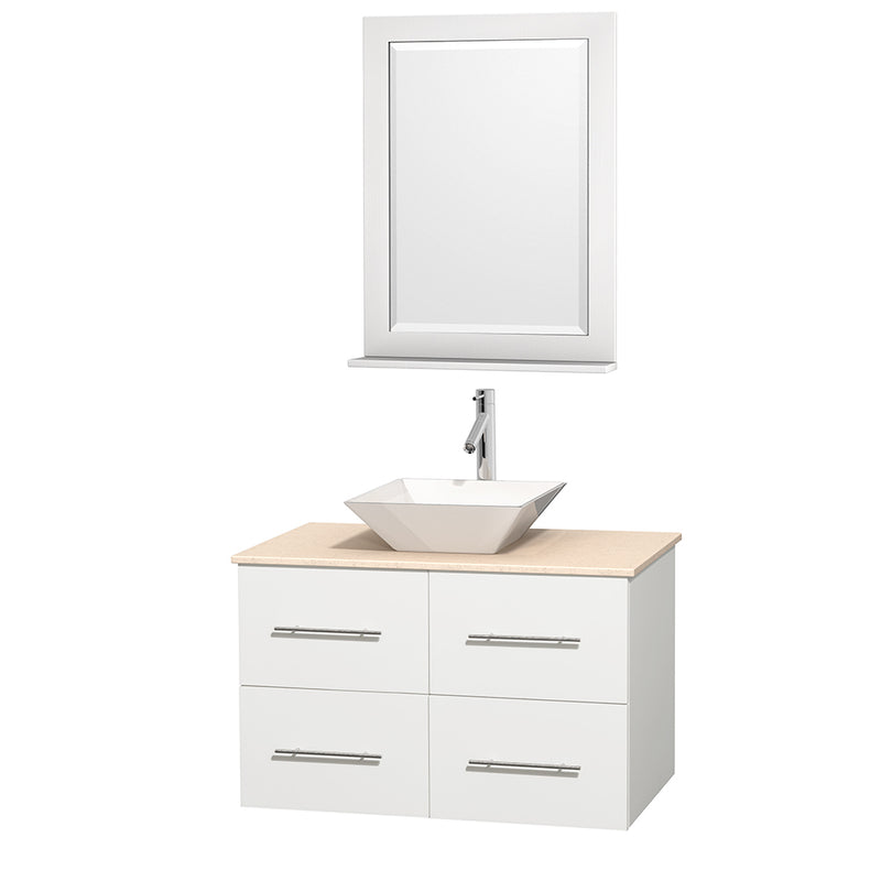 "Wyndham Collection 36"""" Single Bathroom Vanity in White, Ivory Marble Countertop, Pyra White Porcelain Sink, and 24"""" Mirror 