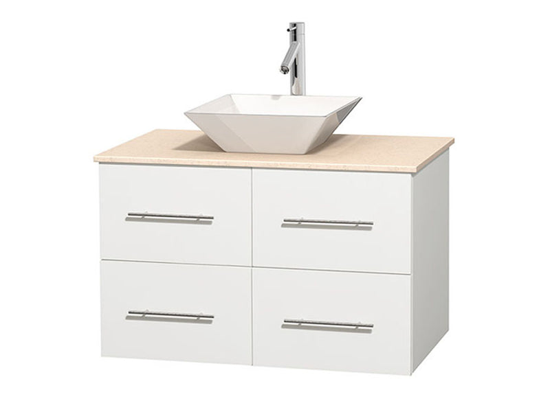 "Wyndham Collection 36"""" Single Bathroom Vanity in White, Ivory Marble Countertop, Pyra White Porcelain Sink, and No Mirror 