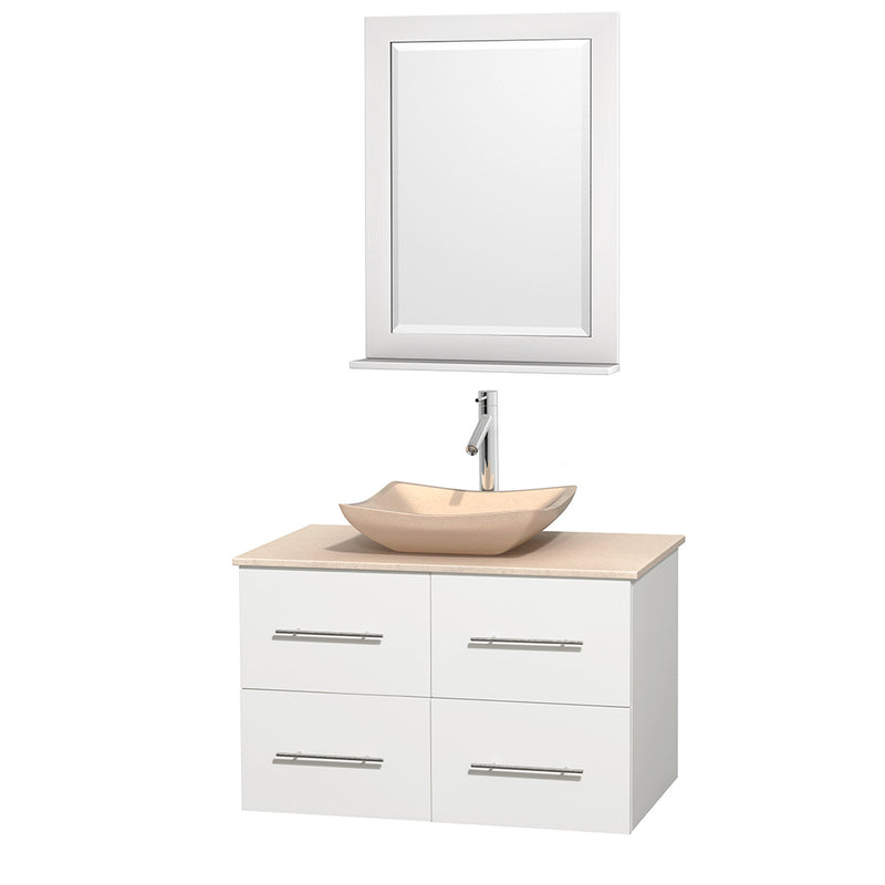 "Wyndham Collection 36"""" Single Bathroom Vanity in White, Ivory Marble Countertop, Avalon Ivory Marble Sink, and 24"""" Mirror 