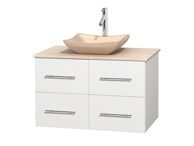 "Wyndham Collection 36"""" Single Bathroom Vanity in White, Ivory Marble Countertop, Avalon Ivory Marble Sink, and No Mirror 