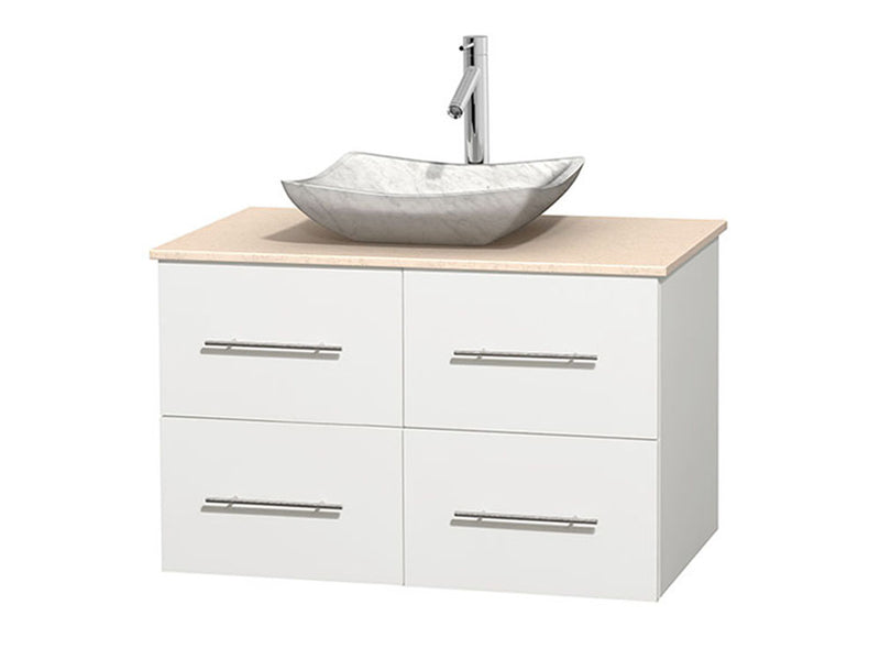 "Wyndham Collection 36"""" Single Bathroom Vanity in White, Ivory Marble Countertop, Avalon White Carrera Marble Sink, and No Mirror 