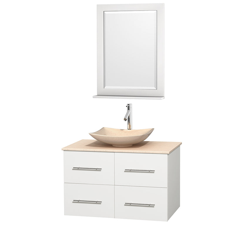 "Wyndham Collection 36"""" Single Bathroom Vanity in White, Ivory Marble Countertop, Arista Ivory Marble Sink, and 24"""" Mirror 
