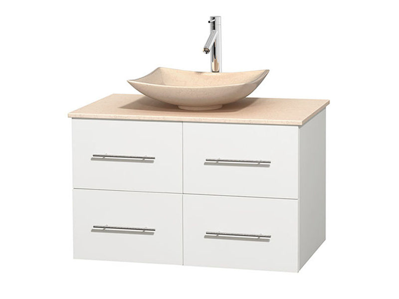 "Wyndham Collection 36"""" Single Bathroom Vanity in White, Ivory Marble Countertop, Arista Ivory Marble Sink, and No Mirror 
