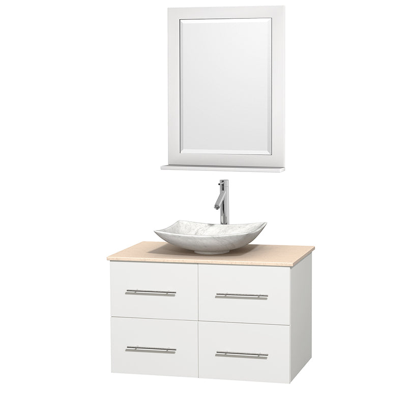 "Wyndham Collection 36"""" Single Bathroom Vanity in White, Ivory Marble Countertop, Arista White Carrera Marble Sink, and 24"""" Mirror 
